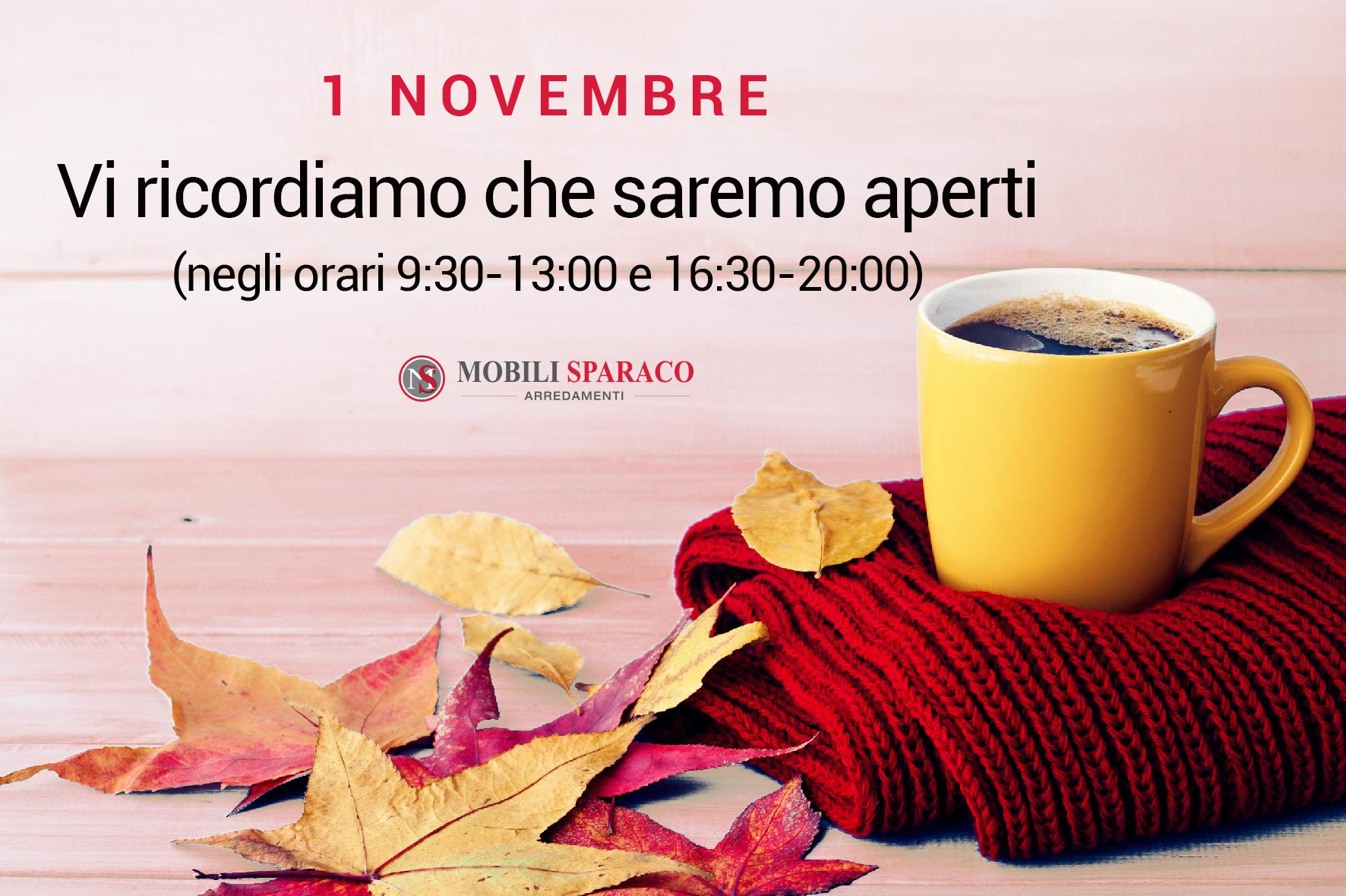Mobili Sparaco aperto il 1 novembre