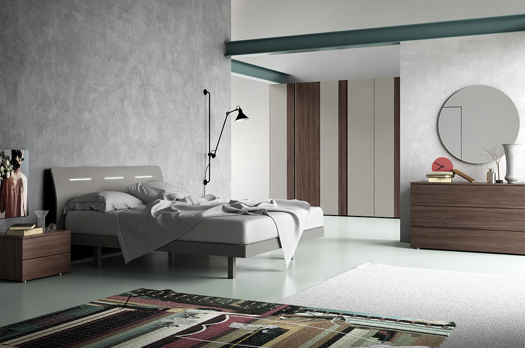 Wind camere da letto moderne mobili sparaco for Arredamento rustico moderno camera da letto